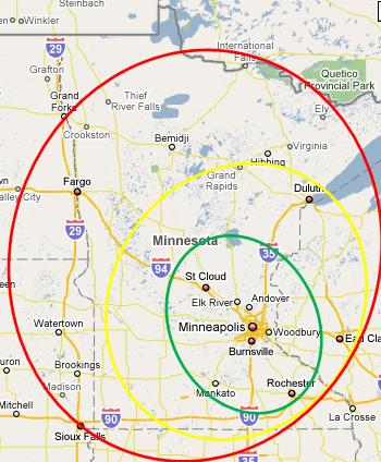Minnesota Trucking Service Area